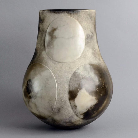 Large burnished stoneware vase with matte gray glaze by Antonia Salmon