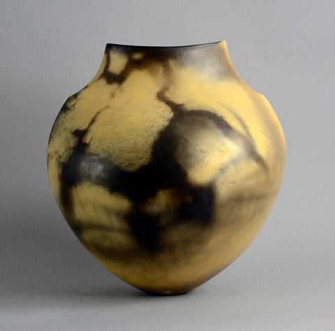 Unique raku-fired earthenware vase by Gabriele Koch B4002