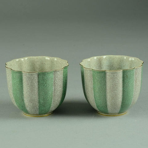 Pair of bowls in crackle glaze by Thorkild Olsen for Royal Copenhagen N9114 and N9113