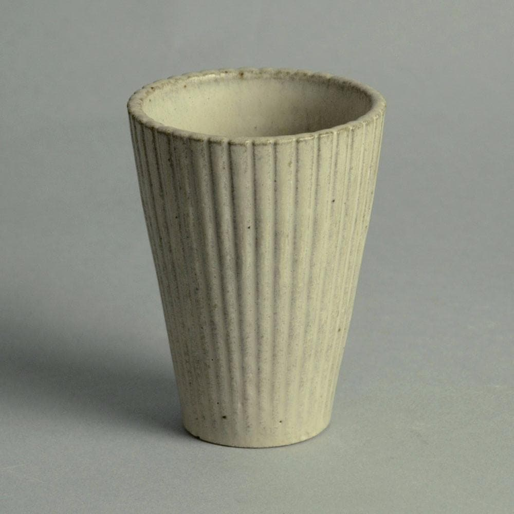 Stoneware ribbed vase with off-white matte glaze by Arne Bang