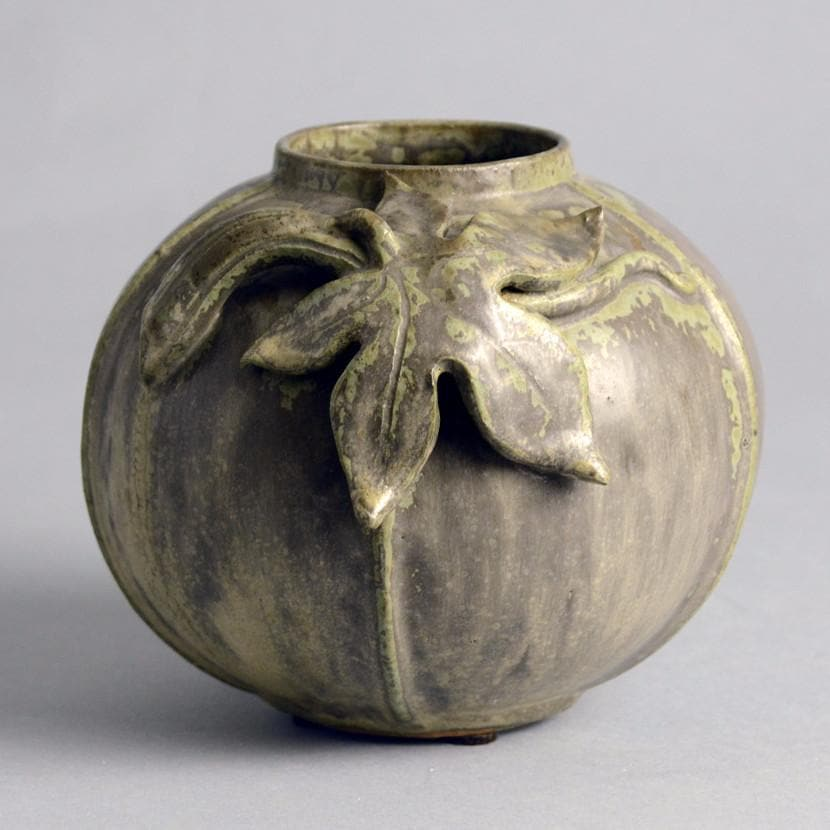 Stoneware Spherical Vase With Green Glaze And Applied Leaf By Arne Ban