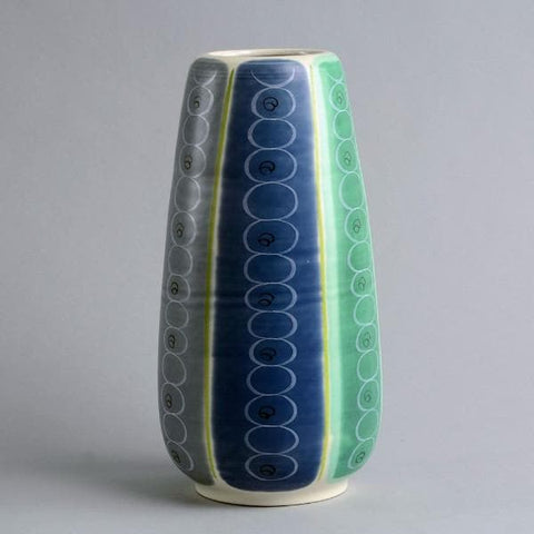 Earthenware vase with matte white, blue and green glaze by Poole Pottery
