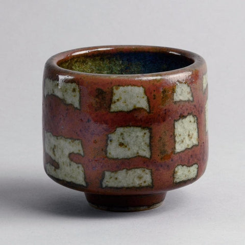 Unique stoneware tea bowl by Karl Scheid