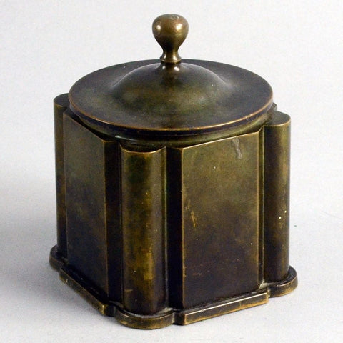 Lidded bronze inkwell by Just Andersen