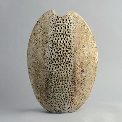 Large stoneware vase with matte brown glaze by Alan Wallwork