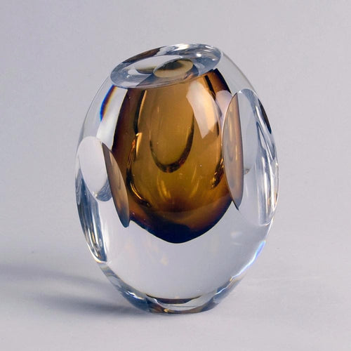 "Brown glass ""Ventana"" vase by Mona Morales Schildt for Kosta F2073"