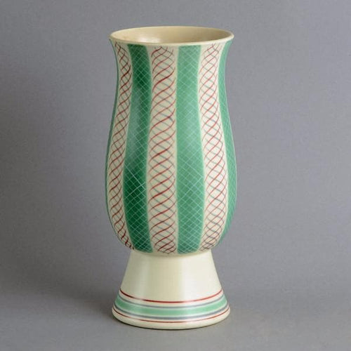 Earthenware contemporary ware vase with matte white and green glaze by Poole Pottery