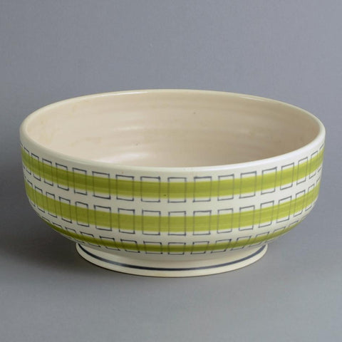 Earthenware freeform bowl with matte white and green glaze by Poole Pottery