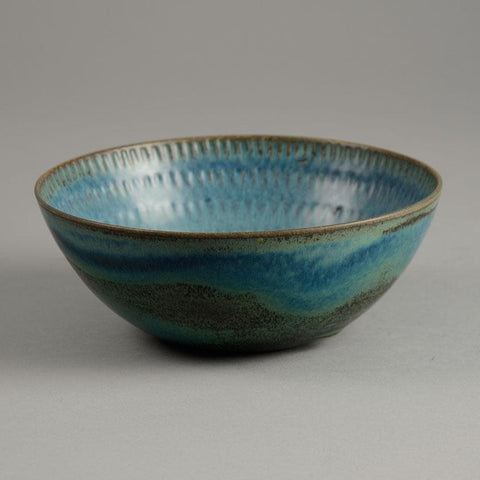 Stig Lindberg for Gustavsberg stoneware bowl with turquoise glaze for sale