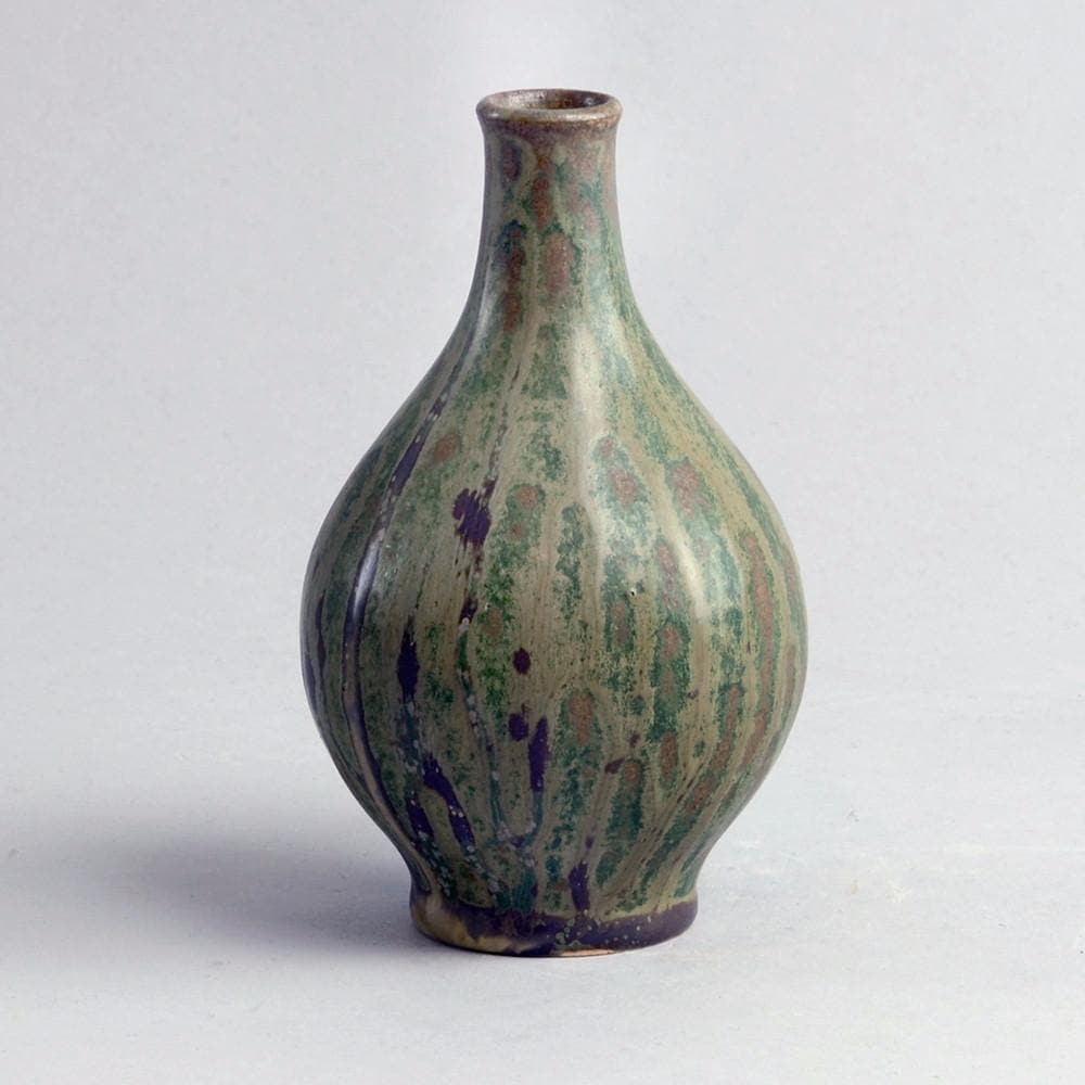 Stoneware teardrop vase with green glaze by Arne Bang