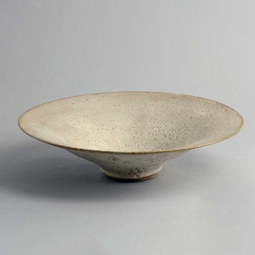 Large unique stoneware shallow bowl by Lucie Rie A1933
