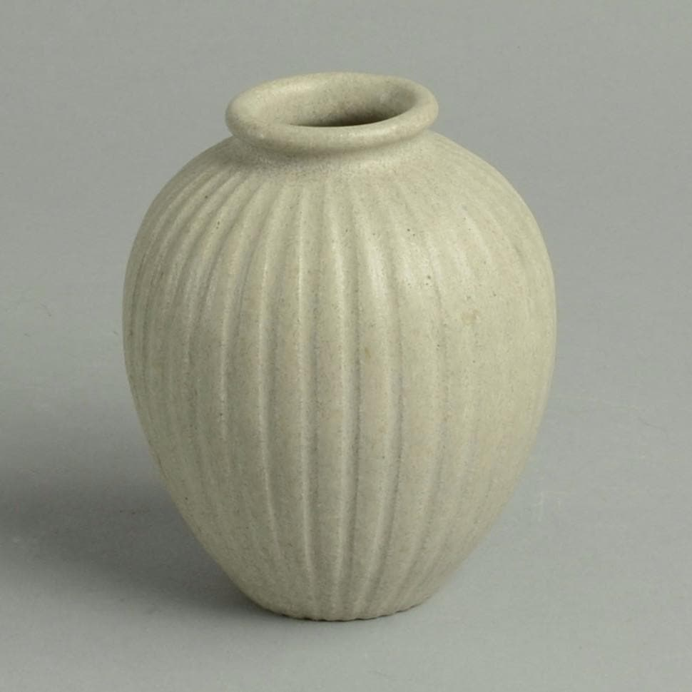 Stoneware fluted vase with cream glaze by Arne Bang