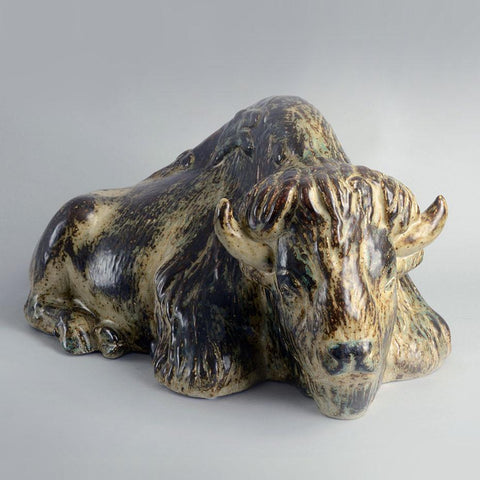 Stoneware Bison by Karl Larsen for Royal Copenhagen