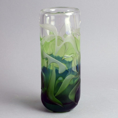 Green glass vase by Vicke Lindstrand for Kosta