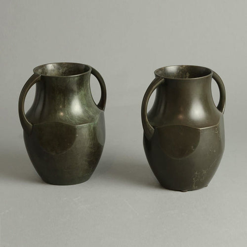Pair of bronze handled vases by Just Andersen for GAB A1438 and  N9172