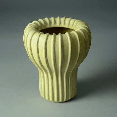 Arne Bang, Denmark ribbed stoneware vase with matte cream glaze