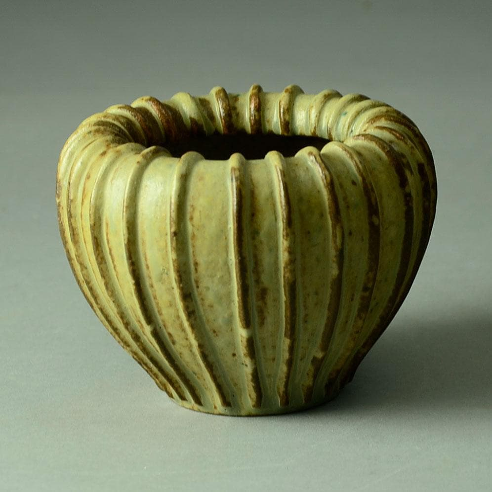 Arne Bang, Denmark ribbed stoneware vase with matte brown glaze