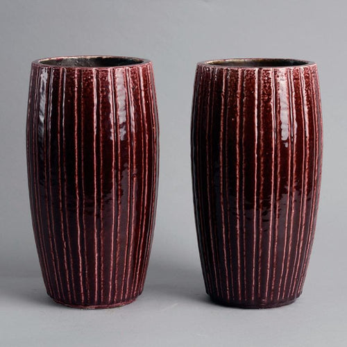 Pair of vases by Gunnar Nylund Rorstrand red