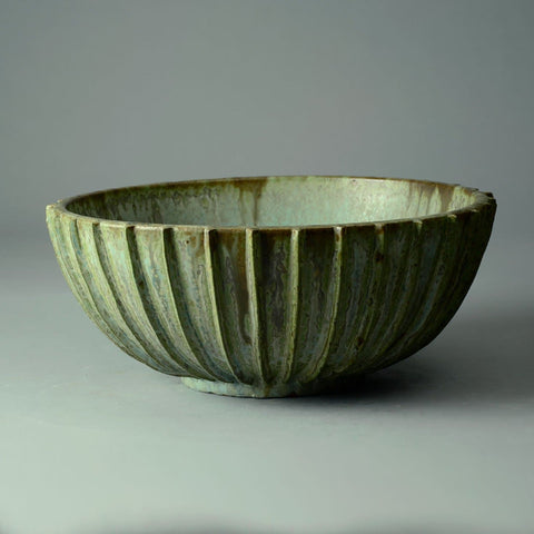 Arne Bang, Denmark large ribbed stoneware bowl