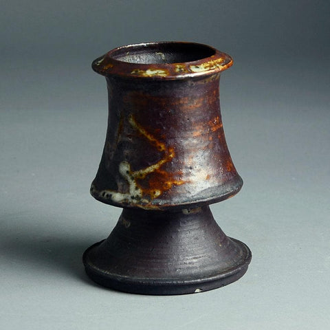 Kyllikki Salmenhaara for Arabia, unique stoneware vase with brown glaze