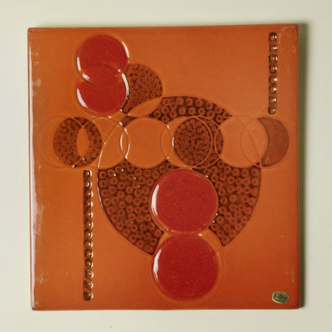 Stoneware tile with abstract illustration by Olle Alberius for Rorstrand