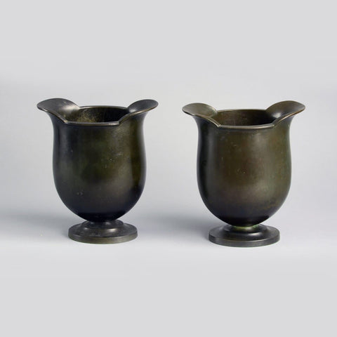 Pair of bronze footed vases by Just Andersen for GAB