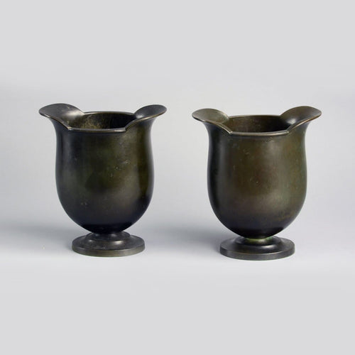 Pair of bronze footed vases by Just Andersen for GAB A1013 and A2124