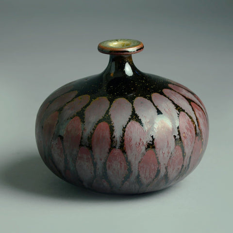 Ursula Scheid, Germany, vase with matte and glossy brown glaze