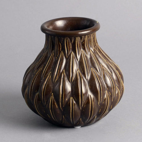 Brown vase by Christian Poulsen for Bing and Grondahl