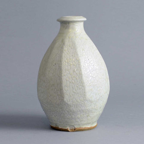 Stoneware vase with glossy off-white glaze by Mike Dodd