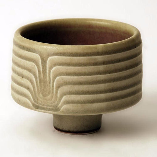 Unique stoneware footed bowl by Karl Scheid N6893