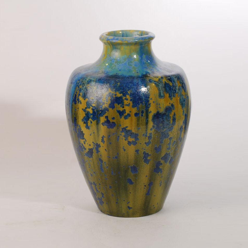Stoneware vase with blue and yellow crystalline glaze by Pierrefonds