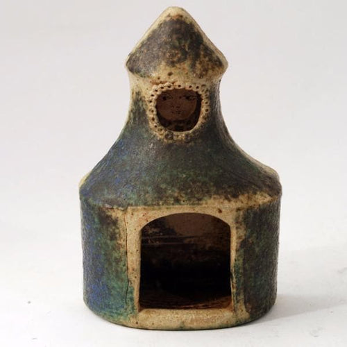 Stoneware house shaped candle holder by Francesca Mascitti Lindh for Arabia
