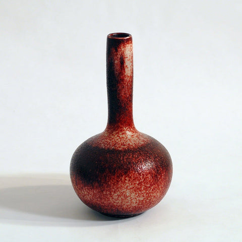 Oxblood long necked Axel Salto vase for Royal Copenhagen