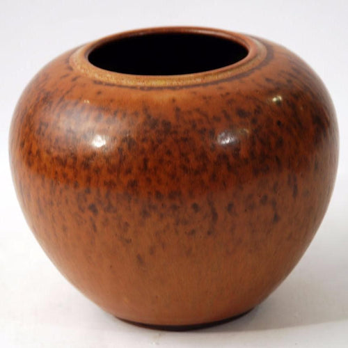 Reddish brown vase with leaf decoration by Saxbo