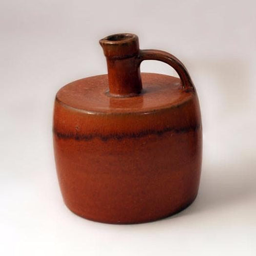 Reddish brown vase with leaf decoration by Saxbo N3183