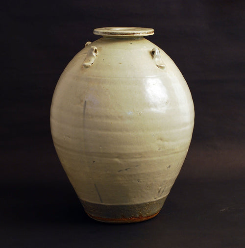 Stoneware vase with gray crackle glaze by William Marshall