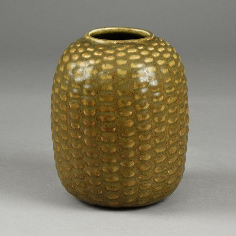 Axel Salto for Royal Copenhagen, Denmark  Stoneware budding vase with matte solfatara glaze
