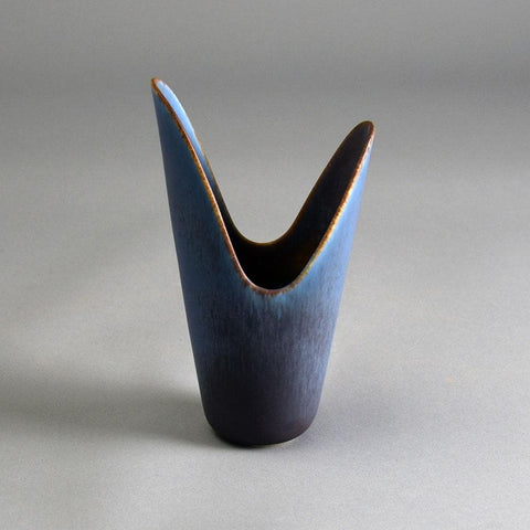 Gunnar Nylund for Rorstrand, ceramic vase with blue and brown glaze E7077