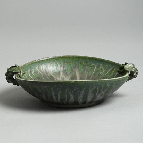 Arne Bang, Denmark, shallow bowl with matte green crystalline glaze F8213