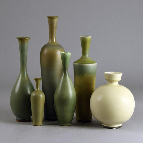 Berndt Friberg for Gustavsberg group of three vases with gray glaze