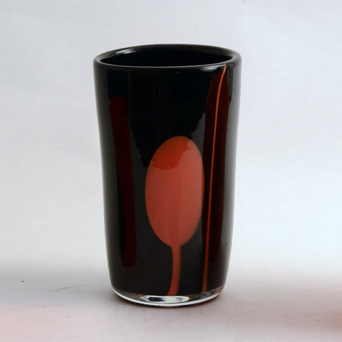 Black and orange glass vase by Gro Bergslien for Hadeland N8666