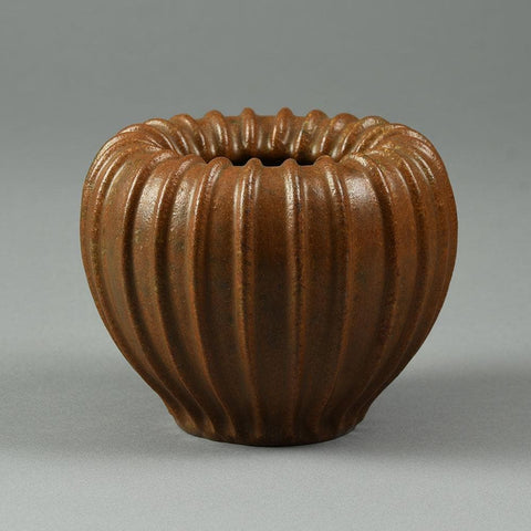 Arne Bang, Denmark, ribbed vase with brown glaze F8078