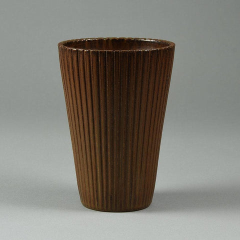 Arne Bang, Denmark, large fluted vase with brown glaze