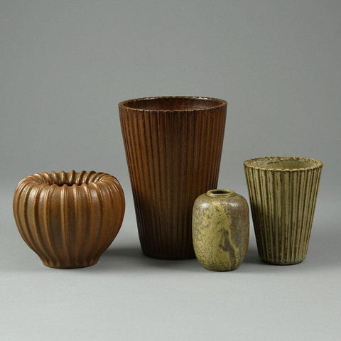 Group of vases with brown glaze by Arne Bang, Denmark
