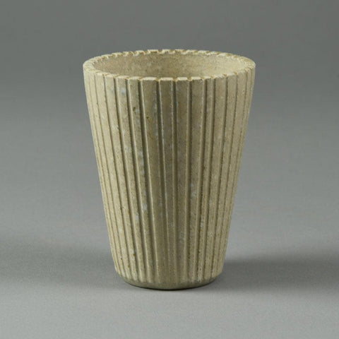 Arne Bang, Denmark, fluted vase with off white glaze