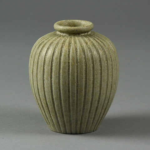 Arne Bang, Denmark, ribbed vase with off white glaze