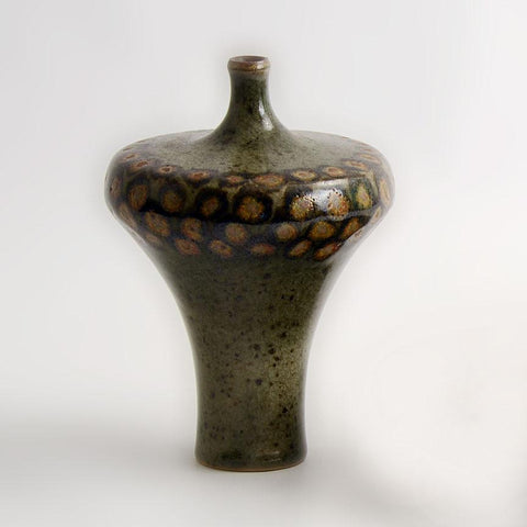 Unique stoneware bottle vase by Karl Scheid