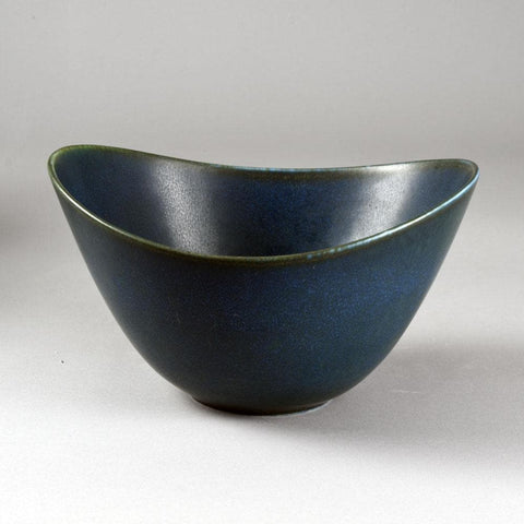Gunnar Nylund for Rorstrand, Sweden   Unique stoneware bowl with blue haresfur glaze,