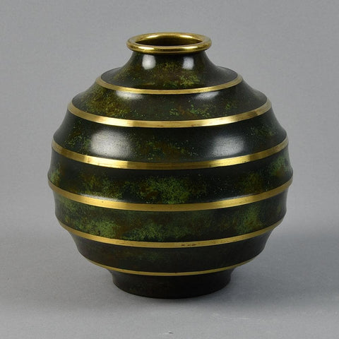 SVM Bronze, Sweden Ribbed vase in light bronze